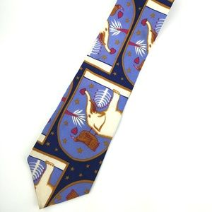 Kenneth Cole 100% Silk Elephant & Guinea Fowl Tie